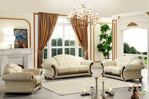 Leather Sofa Living Room Versace Cleopatra Italian Top Grain Leather Beige Living Room Sofa Set