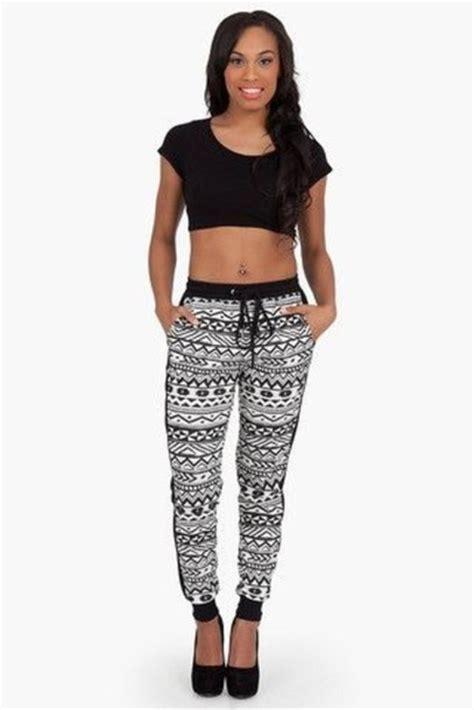 black and white patterned joggers pants aztec print tribal pattern black white gray