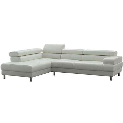 Leather L Shaped Sectional Sofa White Contemporary L Shaped Leather Sectional Sofa W Adjustable Headrest Ebay