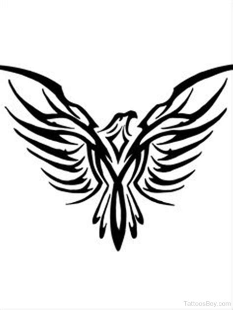 elegant tribal tattoos simple open winged tribal eagle design