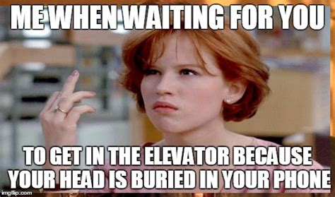 Get Off Your Phone Meme - image tagged in elevator phone waiting get off your phone