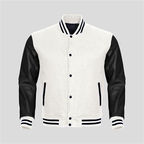 black and white pattern jacket black faux leather sleeves white wool varsity jacket clothoo
