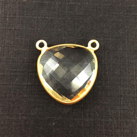 bezel gemstone connector pendant quartz gold