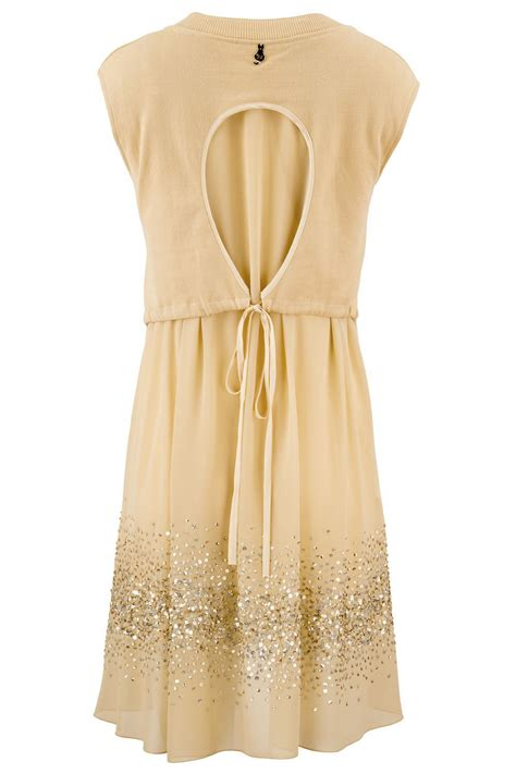 design dress cotton exquisite designer cotton sequin dress in beige claddio