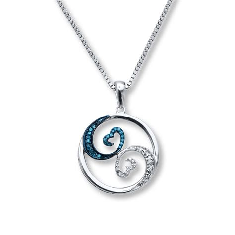 open hearts necklace blue white diamonds sterling