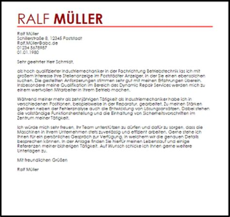 Bewerbung Industriemechaniker Betriebstechnik Bewerbungsschreiben Muster Industriemechaniker Livecareer