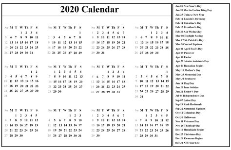 printable yearly calendar  template  holidays  word excel printable template