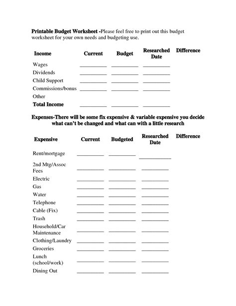 best sheets for the money free budget worksheets to print download money