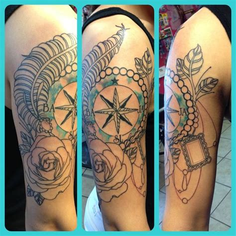 tattoo compass feather compass rose feather tattoo tattoos pinterest