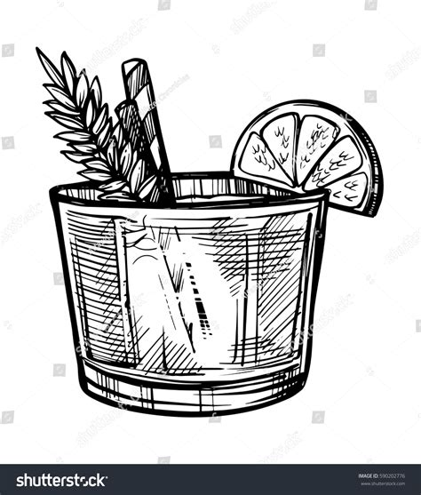 vintage cocktail vector alcoholic cocktail hand drawn sketch vector stock vector