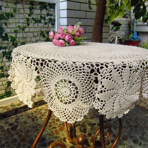 Handmade Crochet Tablecloth - home beige color handmade crochet tablecloth vintage