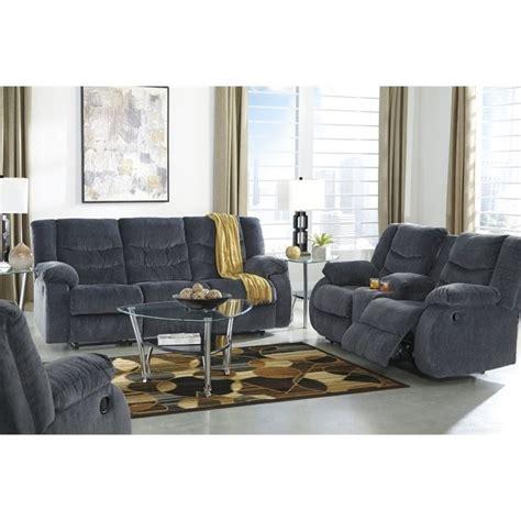 ashley sofa sets ashley garek 3 piece fabric reclining sofa set in blue