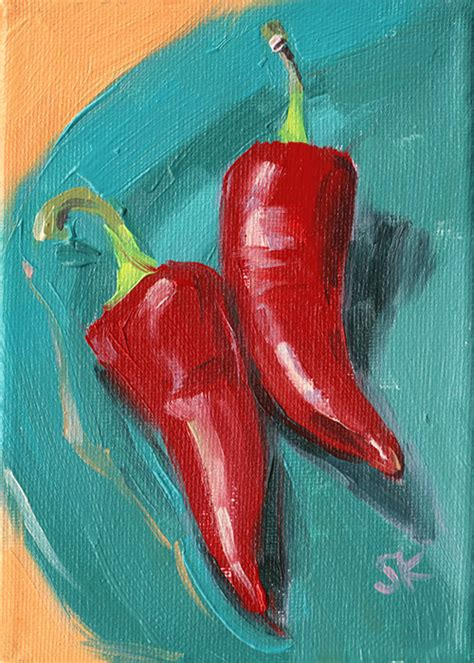 red hot chili pepper poster watercolor art red kitchen red peppers kitchen art oil painting giclee print by