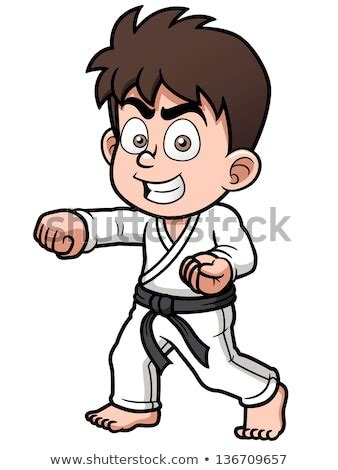 vector taekwondo boy black belt stock vector