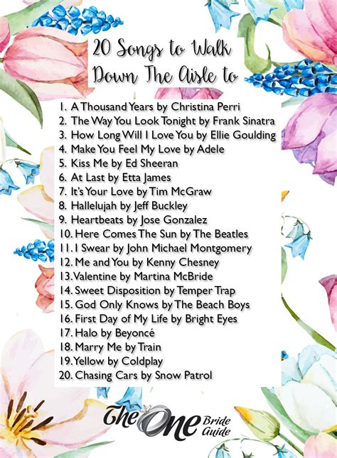 Wedding Aisle Songs by 20 Songs To Walk The Aisle To The One Guide