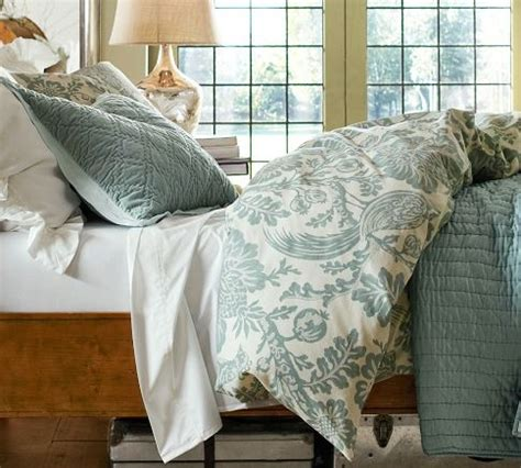 pottery barn bedroom ls arista palore rustic luxe bedding ensemble blue