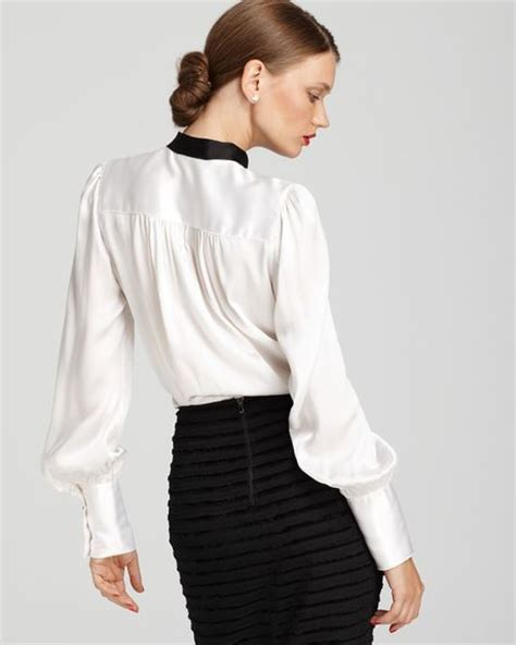 White High Neck Blouse With Bow by Roy Bow Neck Silk Blouse In White Peak Nightshade