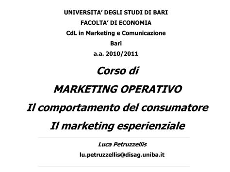 dispensa marketing marketing esperienziale dispense