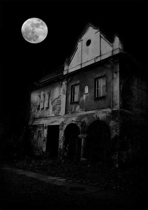 Eerie Full Moon and the Abandoned House. Black and White