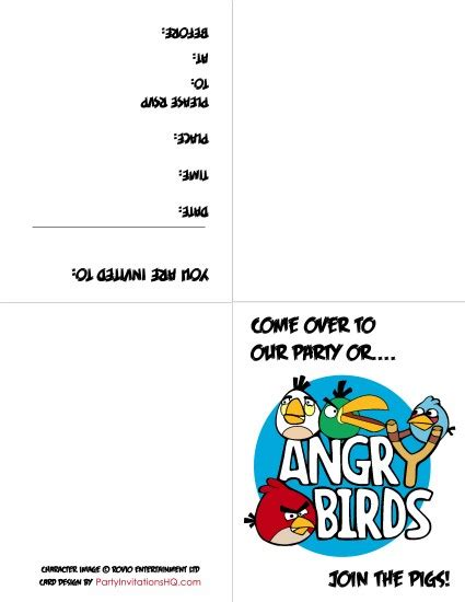 angry birds invitation card template 6 best images of angry birds printable invitations free