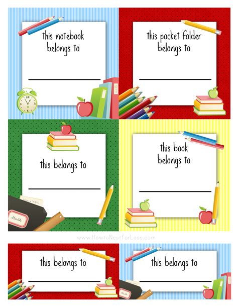 book labels template free back to school book labels for school