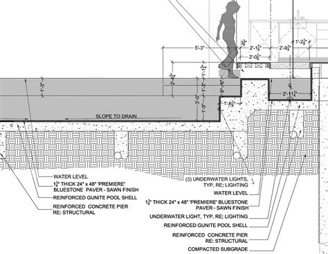 Swimming Pool Section Detail by Pool Or Water Feature Of An Architect