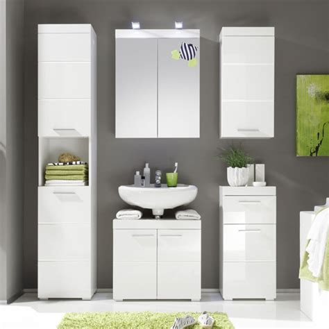 Amanda Tall Bathroom Cabinet In White With High Gloss High Gloss Bathroom Storage