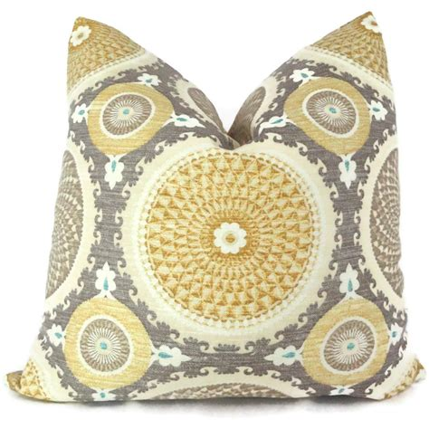Grey And Yellow Decorative Pillows by Yellow And Gray Suzani Decorative Pillow Cover 18x18 By