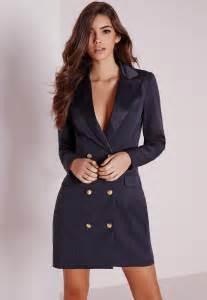 missguided long sleeve tuxedo dress navy in blue lyst