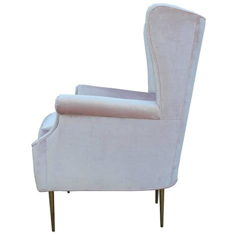 pale pink velvet chair luxe pair of brass legged modern italian wingback chairs