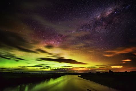 southern lights aurora australis streams across sky in spectacular