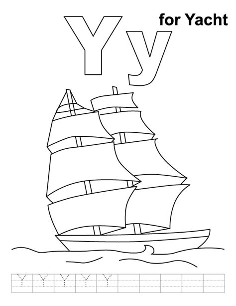Y Coloring Pages by Y For Yacht Coloring Page With Handwriting Practice