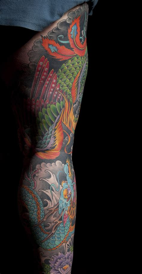 japanese phoenix dragon leg sleeve mark thompson tattoo
