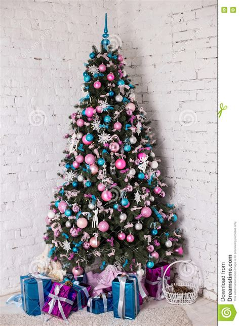 decorated christmas tree on white background stock image