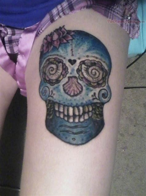 skull thigh tattoo 97 best skull tattoos on thigh