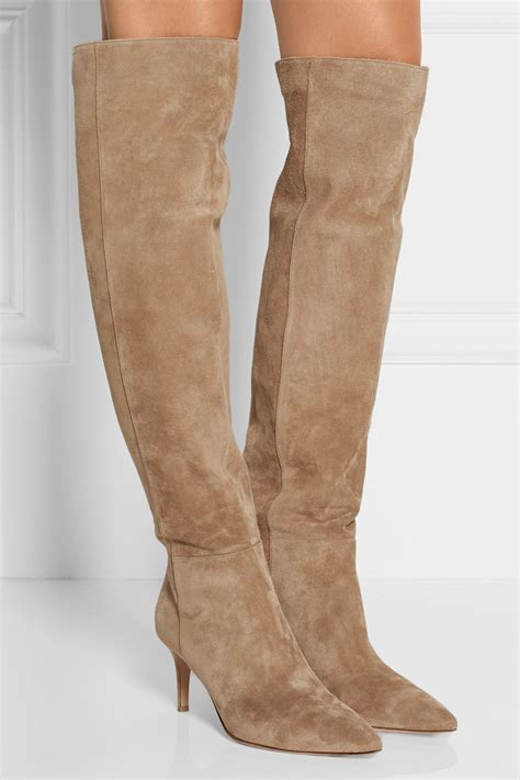 gianvito suede the knee boots beige in