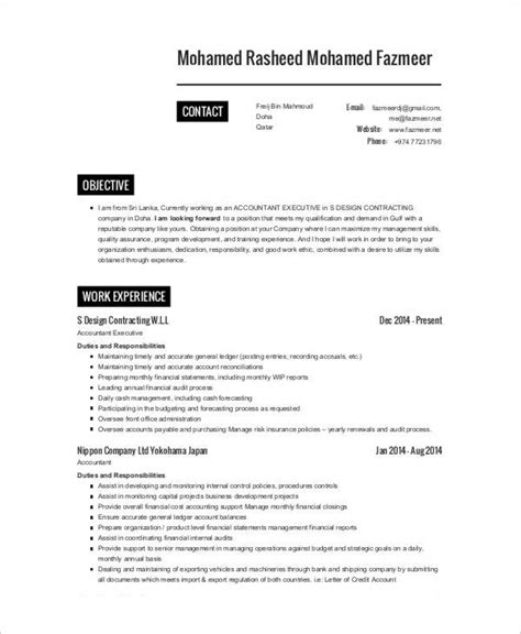 Company Resume Template by 25 Printable Accountant Resume Templates Pdf Doc
