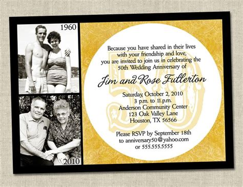 50 anniversary invitations templates 50th anniversary invitation golden gold anniversary