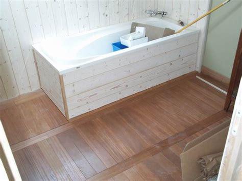 fabriquer une baignoire en bois tablier de baignoire avec rangement mobilier bain