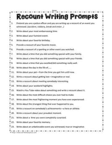 recount writing prompts worksheets