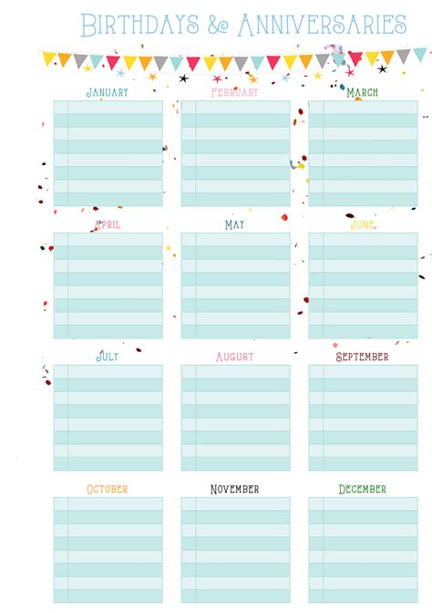 birthday calendars templates free imprimibles filofax project free