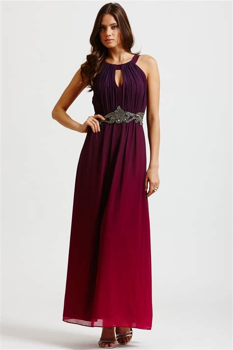 Two Color Dress 40382 two tone pink and purple embellished maxi dress from