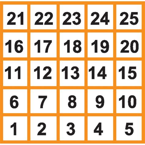 printable numbers 1 25 5 best images of printable number grid 1 25 printable