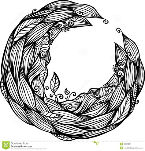 doodle hair vector blue hair waves doodle circle frame stock vector image