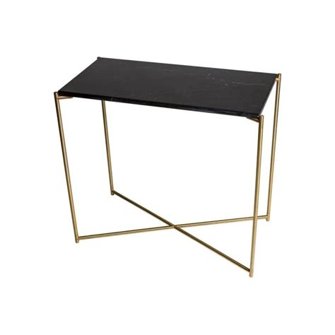 Small Console Table Buy Black Marble Small Console Table With Brass Base At Fusion Living