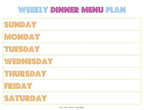 printable blank dinner menu planner printable weekly menu planner new calendar template site