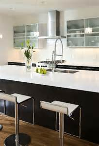 Gooseneck Kitchen Faucet Modern Kitchen With Glass Front Upper Cabinets And