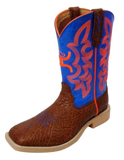 hooey cowboy boots hooey western boots boys cowboy square toe cognac blue