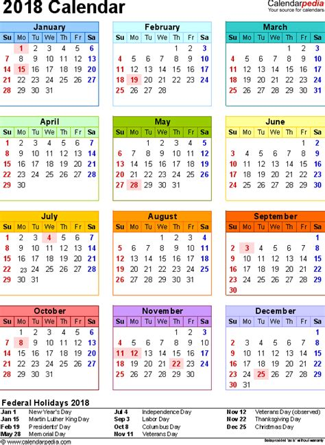 Calendar 2018 Printable With Holidays India 2018 Calendar With Federal Holidays Excel Pdf Word Templates