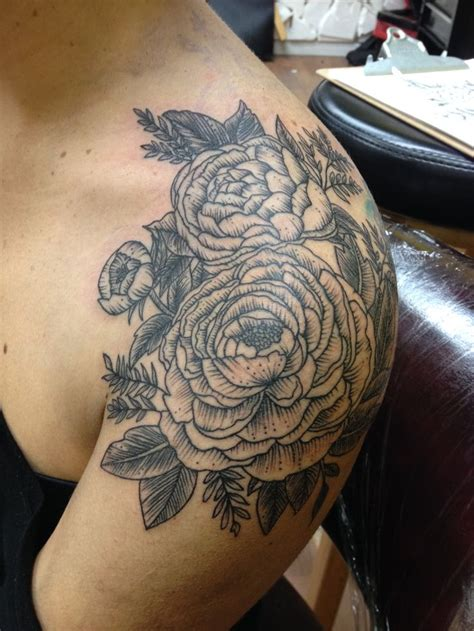 shoulder cap tattoo peony flowers shoulder cap tattoos